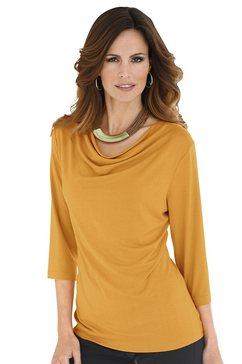 classic inspirationen shirt met kleine cascadehals geel
