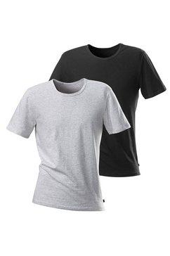 t-shirt h.i.s (set van 2) eenvoudige basic met prima pasvorm, van zachte katoen-stretch multicolor