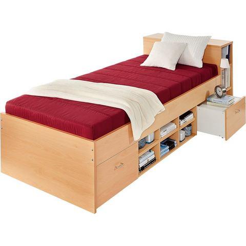 Bed met 3 open vakken alleen Bedframe rood 318020