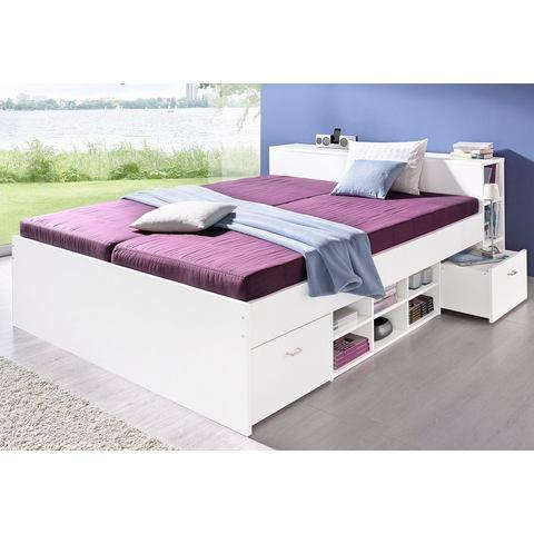 Bed met 3 open vakken Bonell binnenveringsmatras H2 wit 354233