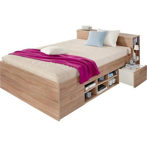 Bed met 3 open vakken Bonell binnenveringsmatras H2 beige 830422