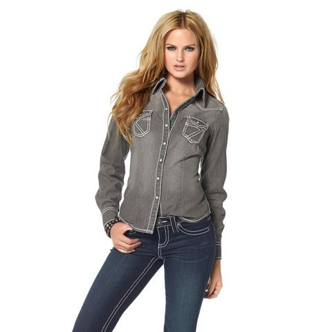 ARIZONA Jeansoverhemd met lange mouwen