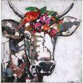 gilde gallery metalen artprint kunstobject bloemen dromen met de hand gemaakte 3d-artprint, 65x65 cm, van metaal, woonkamer (1 stuk) multicolor