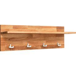 andas kapstokpaneel rio van massief eikenhout, met vier haken van metaal en een plank, breedte 90 cm beige