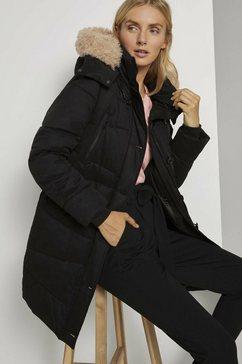 tom tailor winterjack volumineuze jas met imitatiebontkraag zwart