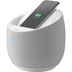 belkin smart speaker soundform elite (wifi, bluetooth, alexa-spraakbesturing, draadloze oplader) wit