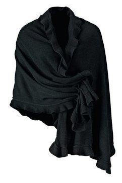 purset sjaal folkloreponcho met ruches zwart