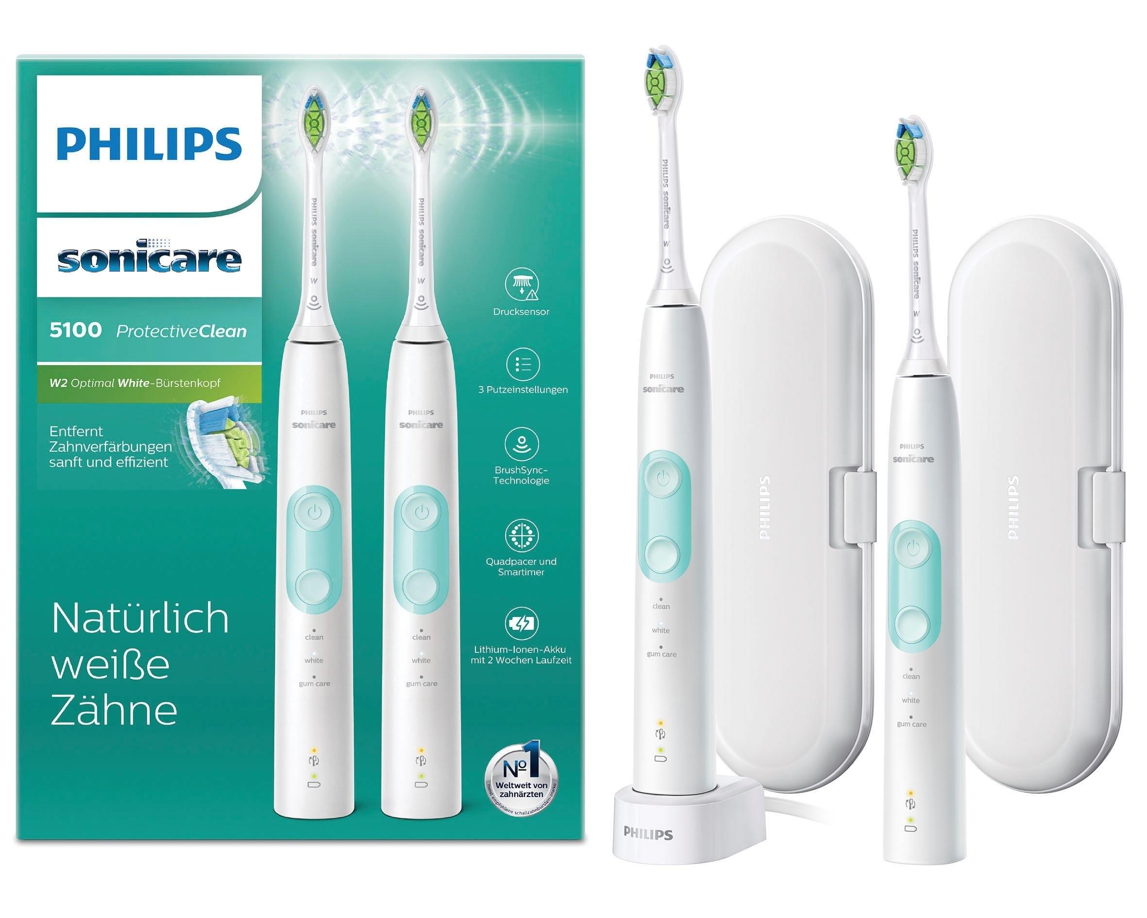 Philips Sonicare elektrische tandenborstel HX6857/34 ProtectiveClean ultrasone tandenborstel 5100, druksensor, 3 programma's, set van 2 goedkoop op otto.nl kopen