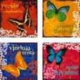 home affaire artprint op linnen vlinders 4x 30-30 cm (set) multicolor