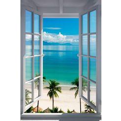 home affaire artprint »strand raam«, 60x90 cm blauw