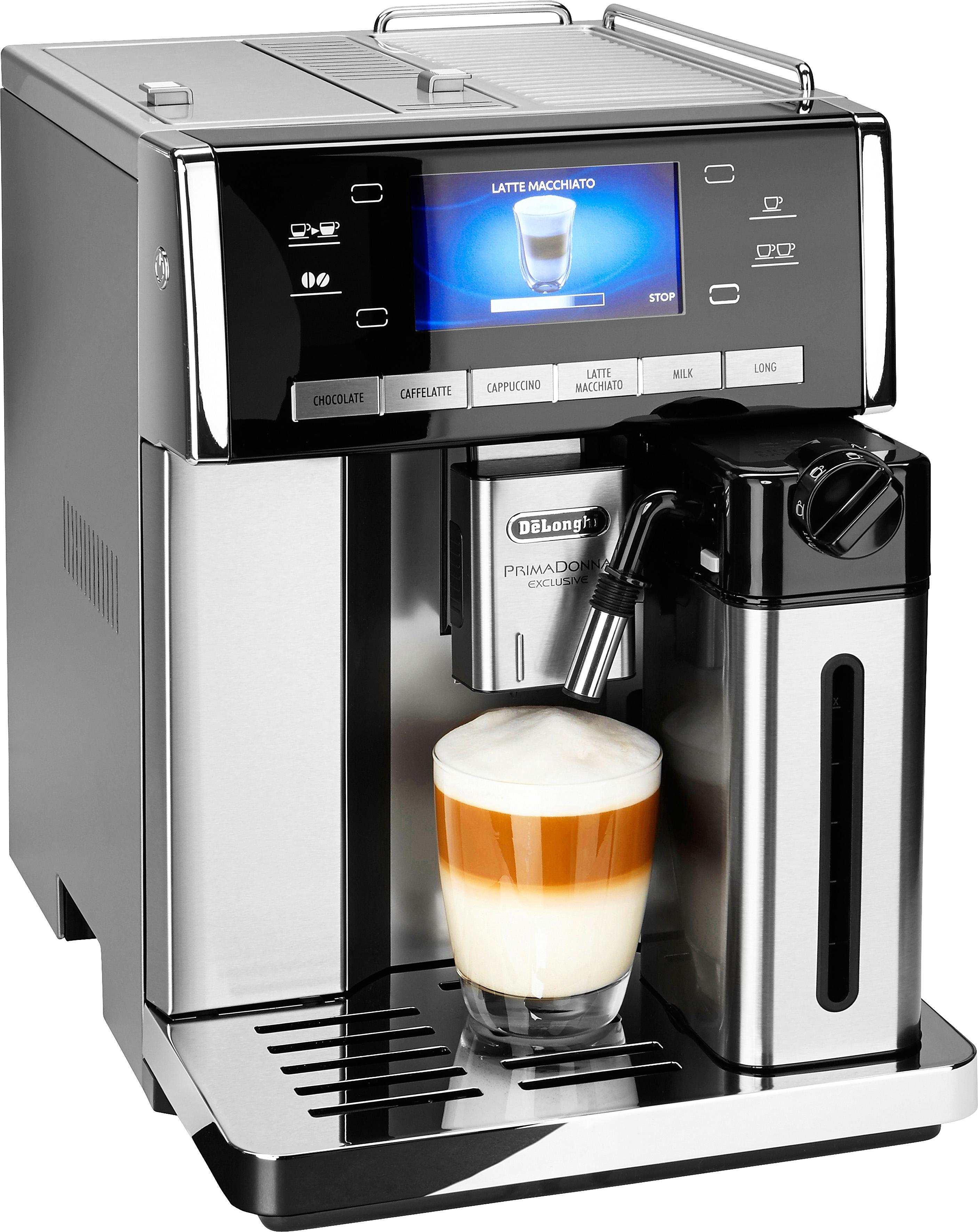 Delonghi volautomatisch koffiezetapparaat PrimaDonna Exclusive ESAM 6900.M, zilverkleur/edelstaal veilig op otto.nl kopen