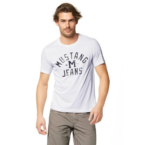 MUSTANG T-shirt met print in used-look voor