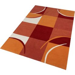 theko vloerkleed magnus handgetuft van wol oranje