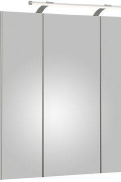 schildmeyer spiegelkast dorina breedte 70 cm, 3-deurs, ledverlichting, schakelaar--stekkerdoos, glasplateaus, made in germany wit