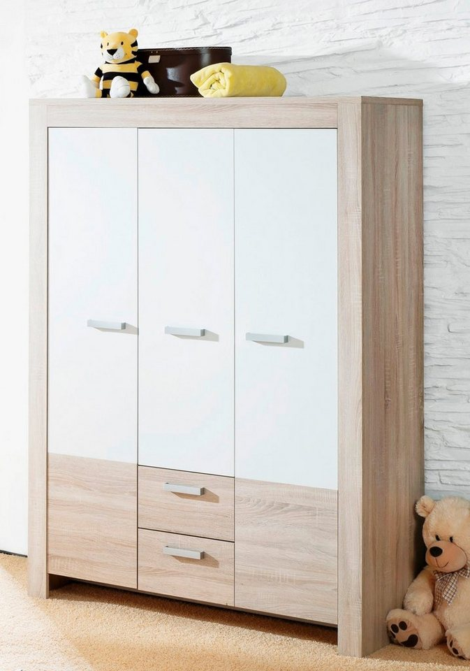 Garderobekast Ben (3-deurs), in ongeschaafd eiken/mat-wit