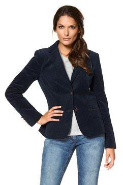 aniston casual jasje met imitatieleer-randafwerkingen en mouwpatches blauw