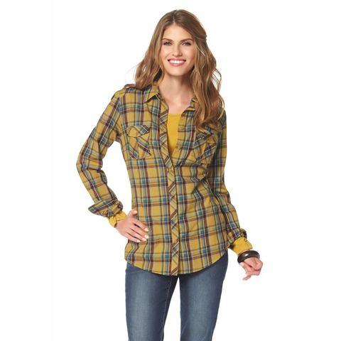 CHEER Geruite blouse met borstzakken