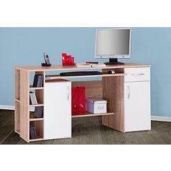 bureau tim met 5 vakken en uittrekplank voor het toetsenbord beige