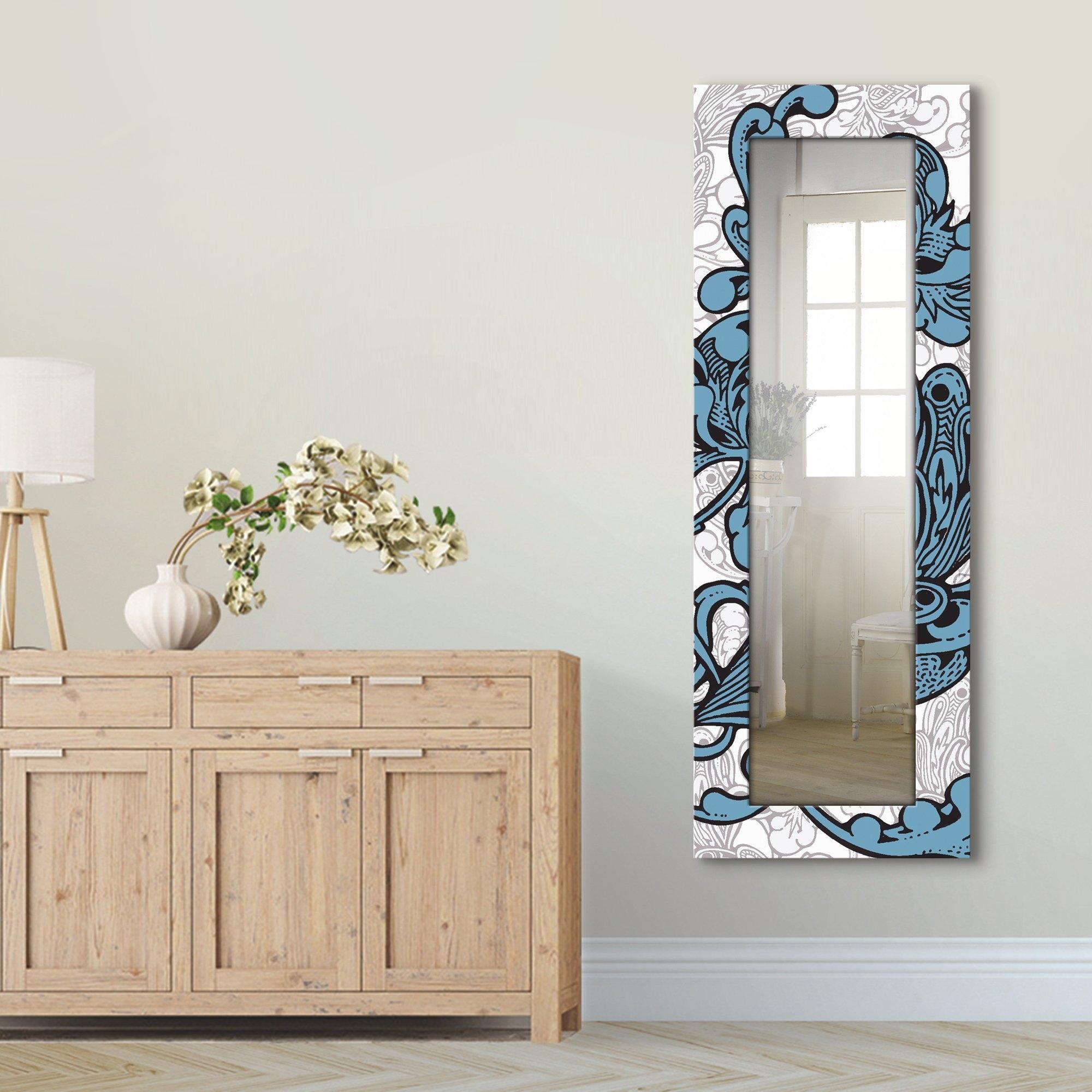 Artland wandspiegel Blue Ornaments ingelijste spiegel voor het hele lichaam met motiefrand, geschikt voor kleine, smalle hal, halspiegel, mirror spiegel omrand om op te hangen voordelig en veilig online kopen