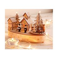 home affaire speeldoosje kerstdorp met muzikaal mechanisme beige