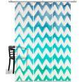 emotion textiles paneelgordijn zigzag hxb: 260x60, inclusief bevestigingsmateriaal (3 stuks) blauw
