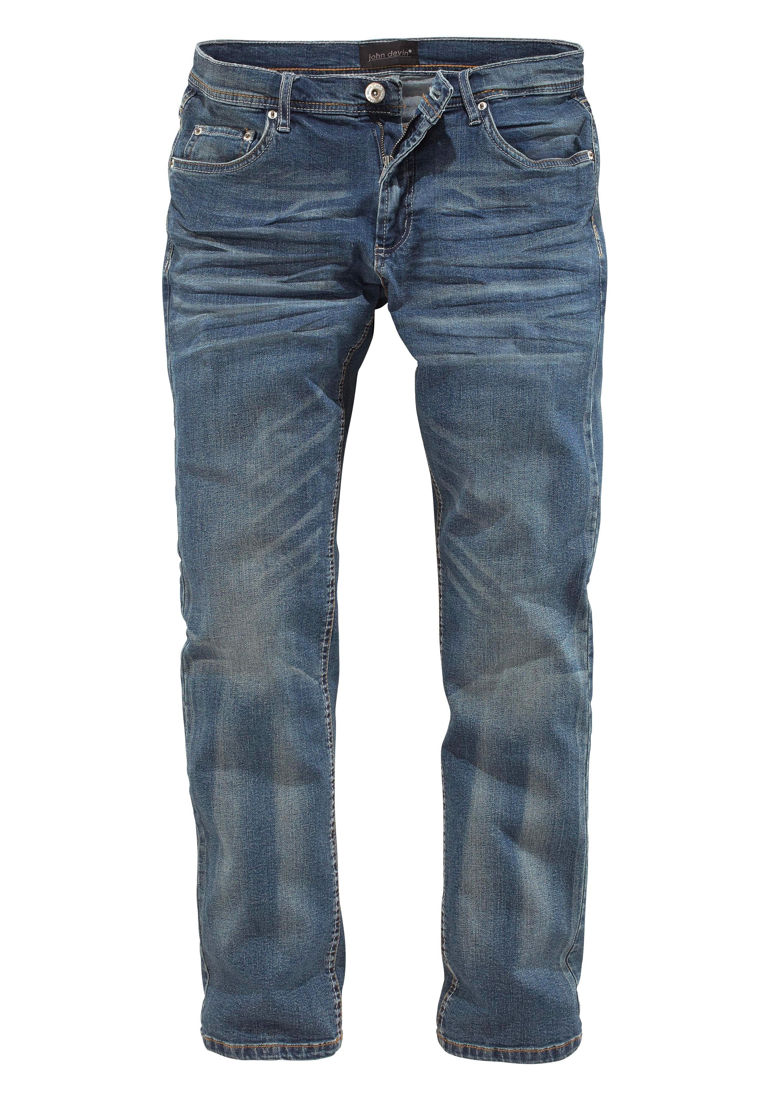 John Devin Straight Fit-jeans in used-wassing veilig op otto.nl kopen