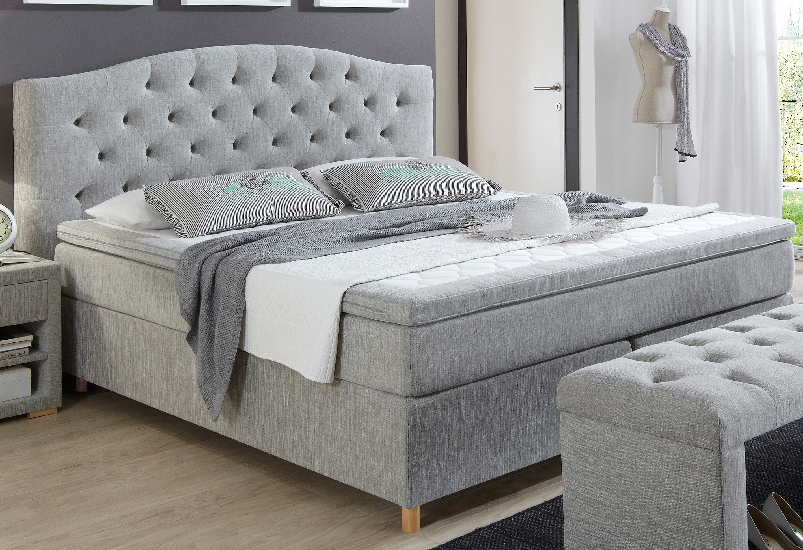 boxspring incl topper home affaire claire online kopen otto. Black Bedroom Furniture Sets. Home Design Ideas