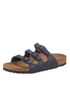 birkenstock slippertjes van imitatieleer blauw