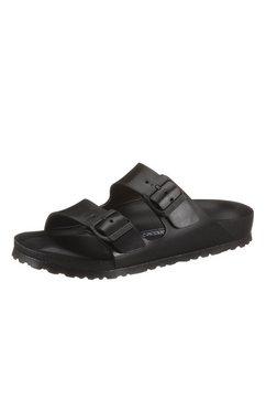 birkenstock slippers arizona eva in schoenwijdte smal, met verstelbare gespriempjes zwart