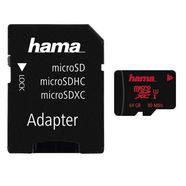 hama microsdxc 64 gb uhs speed class 3 uhs-i 80 mb-s »geheugenkaart + adapter-mobiel« zwart