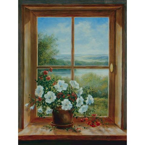Home Affaire HOME AFFAIRE artprint op linnen A. Heins: bloemen bij het raam, 57x79 cm