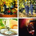 home affaire artprint op linnen glazen, druiven, kaas, wijn 4x 30-30 cm rood
