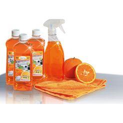 cleverclean reinigings-set (5-delig) op basis van sinaasappelsap oranje