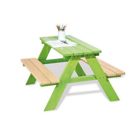 Picknicktafel Nicki 4-zitsbank massief vurenhout-helder groen gebeitst, Pinolino