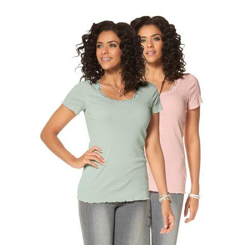 BOYSEN'S T-shirt met kant in set van 2