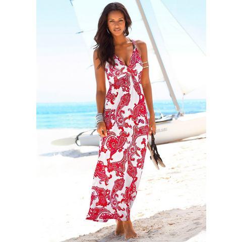 Lascana Maxi-jurk met gesmokt deel rood