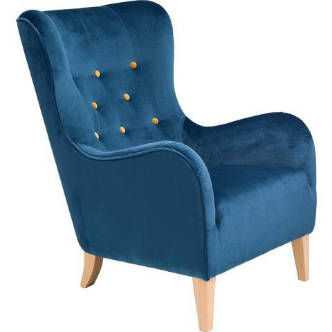 MAX WINZER® fauteuil met gekleurde sierknopen Melina, met houten poten