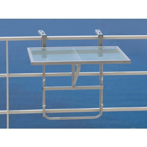 Balkon-hangtafeltje , inklapbaar, staal/veiligheidsglas