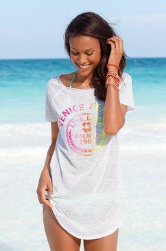 venice beach lang shirt met frontprint wit