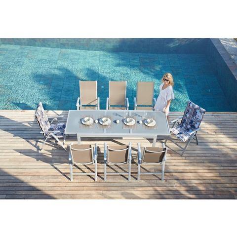 MERXX Tuinmeubelset Amalfi, 9-delige, 8hoge rug, tafel 100x180-240 cm, aluminium/textiel