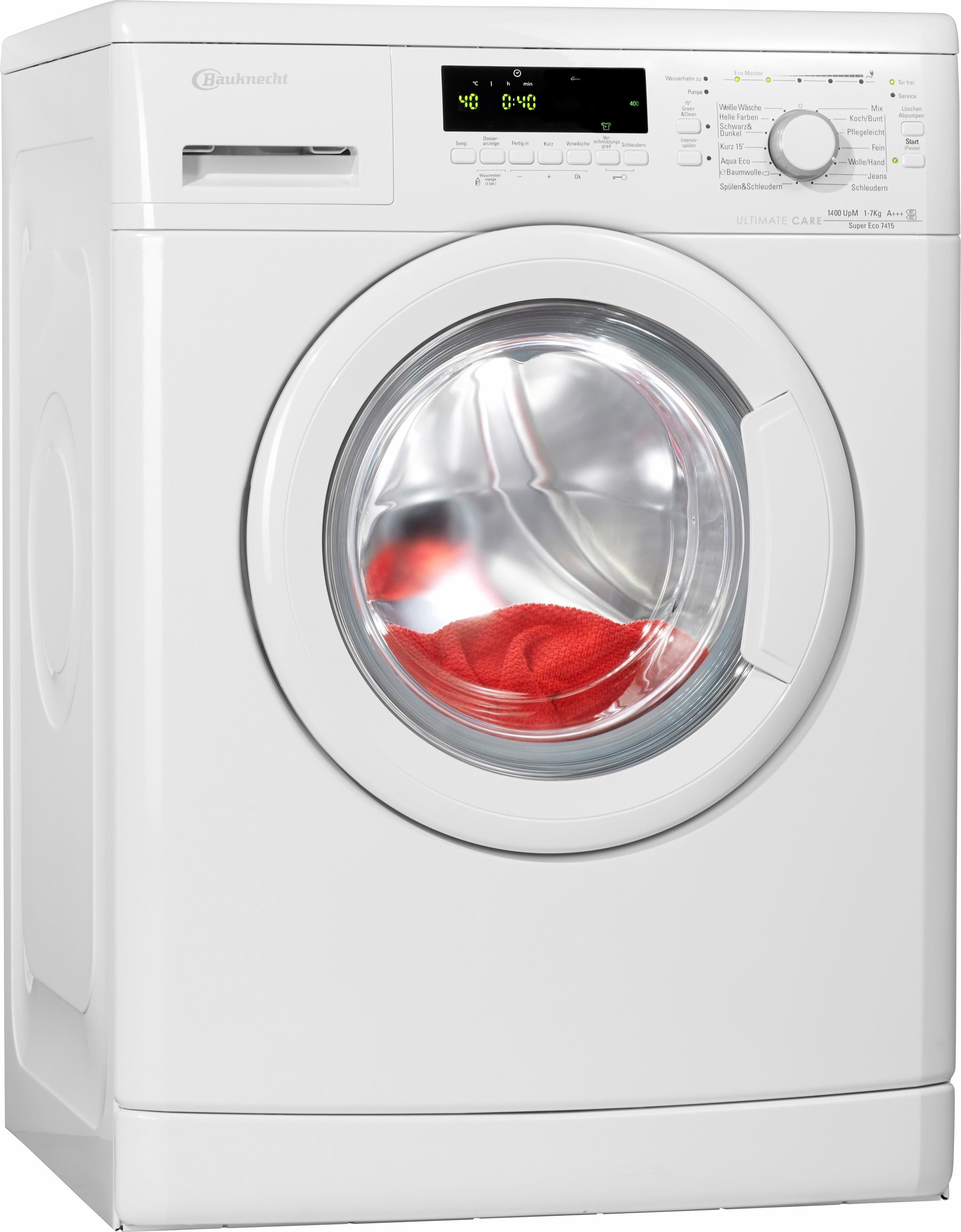 Bauknecht wasmachine Super Eco 7415, A+++, 7 kg, 1400 tpm - gratis ruilen op otto.nl