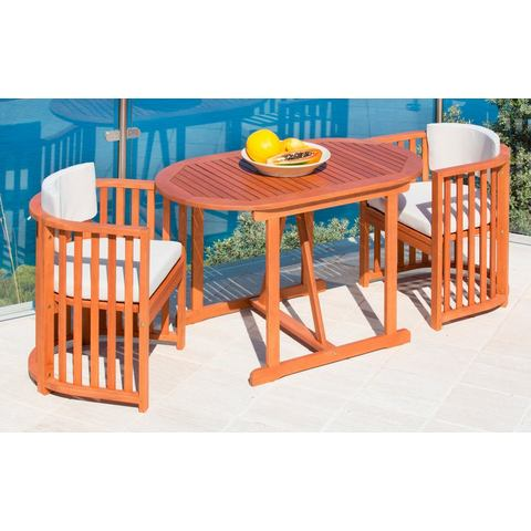 MERXX Tuinmeubelset Brazilië, 3-dlg., 2 stoelen en 1 tafel 120x70 cm, eucalyptushout