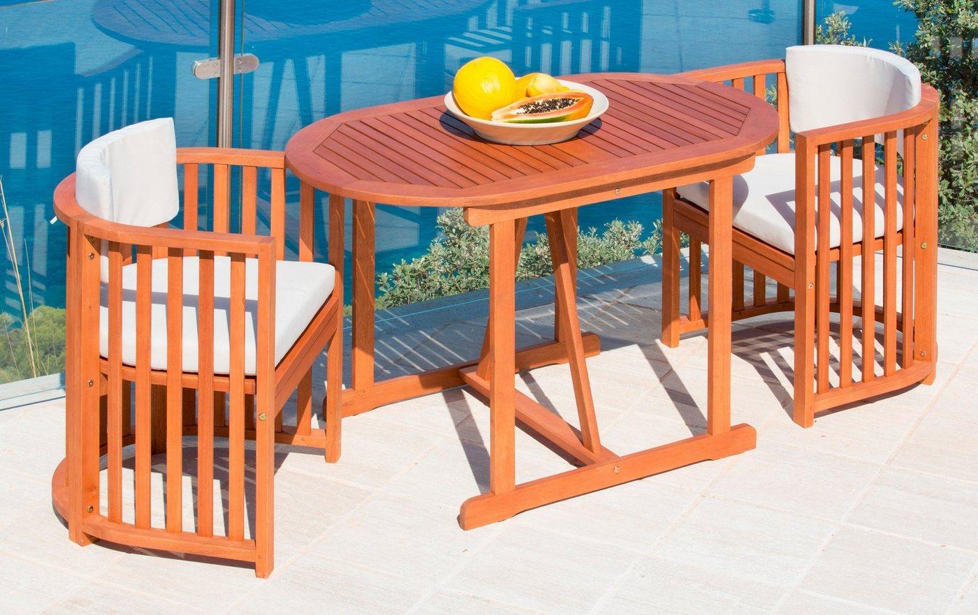 Tuinmeubelset Brazilië, 2 stoelen en 1 tafel 120x70 cm, eucalyptushout