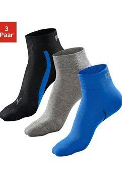 puma sportsokken met korte geribde schacht (3 paar) blauw