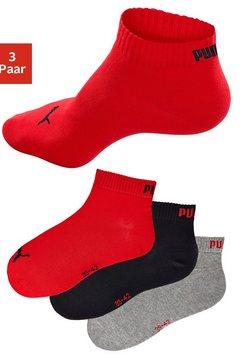 puma korte sokken met ribboorden (3 paar) rood