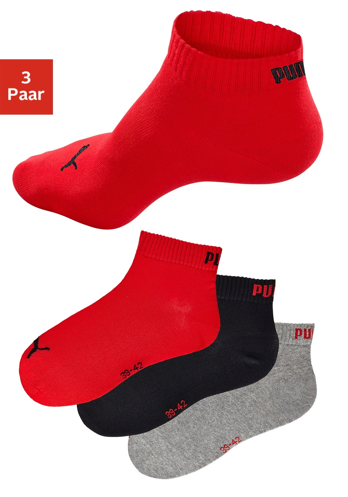 PUMA sportieve korte sokken (set van 3 paar) met ribboord online kopen op otto.nl