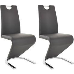 stoel met bekleding van imitatieleer grijs