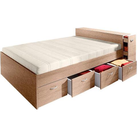 Bed met uittrekbare kast zonder lattenrol en matras beige 169340