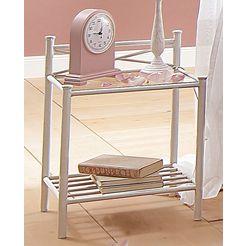 home affaire nachtkastje thora mooi metalen frame, met een plateau van glasplaat, hoogte 58 cm wit