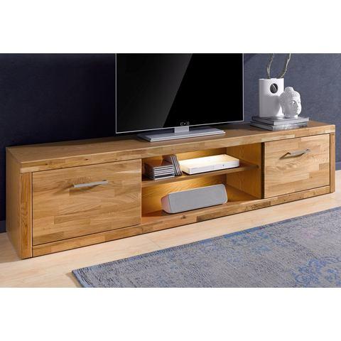 TV-lowboard breedte 200 cm gedeeltelijk massief eikenhout TV-kast 255